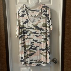 Maurice's 24/7 White Camo Cut Out Scoop Neck Top 3
